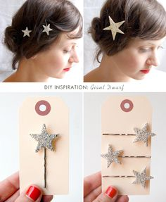 Sparkly star bobbie pin DIY  From a sweet little blog, Sprinkles in Springs  http://sprinklesinsprings.com/2012/12/diy-twinkle-star-bobby-pins.html#