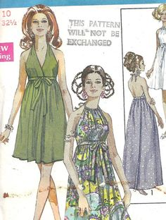 Vintage Pattern 1969 Wrap Dress Backless with by ButtonBroker