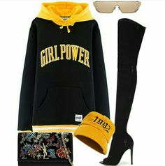 A fashion look from September 2016 featuring leather stiletto boots, chain strap shoulder bag and vintage beanie hats. Browse and shop related looks. Stage Outfits, Kpop Outfits, Teen Fashion Outfits, Look Fashion, Korean Fashion, Womens Fashion, Cute Casual Outfits, Pretty Outfits, Chic Outfits