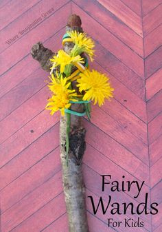 "Fine-motor fairy wand made with elastic bands, sticks and nature finds - from Where Imagination Grows ("",)"