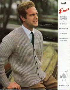 mens knitting pattern pdf DK or chunky mens cardigan ribbed jacket v neck Vintage 60s 36-46 inch DK 8ply chunky 12ply download by coutureknitcrochet on Etsy