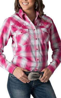 Cowgirl Hardware Women's Pink Plaid with Scroll & Horseshoe Embroidery Long Sleeve Western Shirt