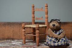 Ladder Back Chair for Doll or Stuffed Animal Adorable Handmade Wood Scandinavian Style Circa 1980 I Ship Internationally