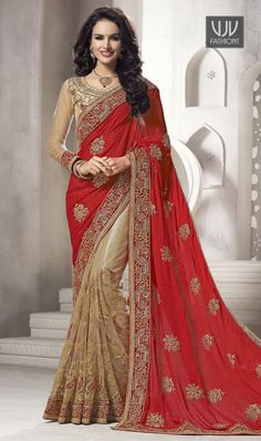 Cherubic Beige and Red Designer And Party Wear Saree