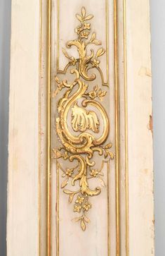 For Sale on 1stDibs - Six 19th century French Louis XV style white and gold painted pilaster panels. Dimensions: One panel 25' wide, five panels 15' wide. Versailles, Marble Pillar, Cornice Design, Beige Marble, Beautiful Architecture, French Architecture, White Paneling, Ceiling Design, Ceiling Ideas
