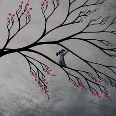 SALE Original Fantasy Landscape Cherry Blossom Painting by Jaime Best - First Bloom - 24X36. $175.00, via Etsy.