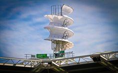 Corkscrew wind turbine brings power to the Cleveland Indians stadium