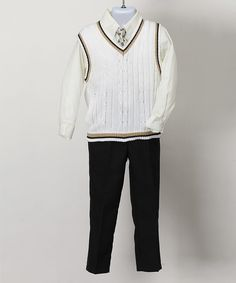 Look at this White Four-Piece Sweater Vest Set - Infant & Boys on #zulily today!