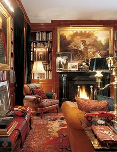 Step Inside Ralph Lauren's House in New York - Architectural Digest Architectural Digest, Architectural Styles, English Country Decor, Country Sofas, French Country, New York Homes, Home Libraries, Cozy Fireplace, Lounges