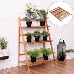 3Tier Outdoor Bamboo Flower Pot Shelf Stand Display Rack Garden Yard, Brown, Outdoor Décor