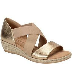 Comfortiva by Softspots Leather Wedge Sandals -Brye