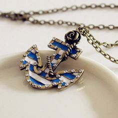 Vintage Marine Era Retro Rose Anchor Diamond Necklace Pendant  This website has jewelry no more than $2 & clothes from like $6-20.