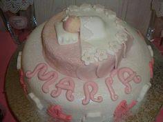 tarta decorada fondant. bautizo