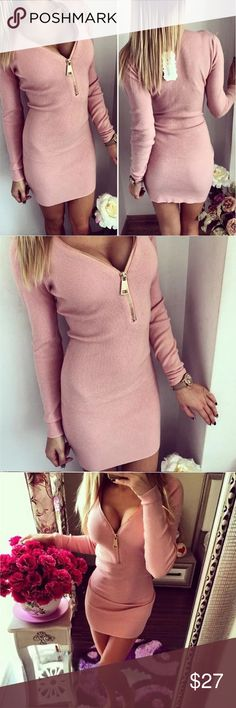 Blush Sweater Dress Blush Sweater Dress. Has zipper in the front. Bust measures approximately 38 inches . Dresses Mini