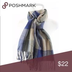"""💙LAST ONE💙 New Gorgeous Plaid Blanket Scarf Incredibly Soft with Cashmere and Acrylic Blend Approximately 25""""W 70""""L.         ❤️Price is Firm Unless Bundled❤️ Accessories Scarves & Wraps"""