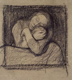Käthe Kollwitz (1867-1945), Crouching Mother Pressing Her Child to Her Bosom, 1899, Black chalk and charcoal