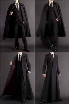 Long coat + formal robe for all your suiting and wizarding needs. Long coat + formal robe for all your suiting and wizarding needs.,Clothes reference Long coat + formal robe for all your suiting. Mode Outfits, Fashion Outfits, Fashion Trends, Fashion Clothes, Trendy Fashion, Style Fashion, Fashion Coat, Gothic Fashion Men, Gothic Men