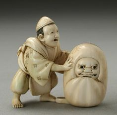 "The traditional Daruma figure is a balanced figure that will not stay down if knocked over, it will right itself automatically. This automatic righting is representative of the Buddhist saying ""Seven times down, eight times up"". Kaizen, Traditional Japanese Kimono, Buddhist Practices, Buddhist Philosophy, Buddha Buddhism, Turning Japanese, China Art, Japanese Artists, Wood Carving"