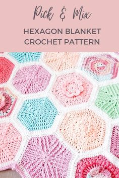 Free Crochet Square, Hexagon Crochet Pattern, Crochet Hexagon Blanket, Granny Square Pattern Free, Crochet Granny Square Afghan, Afghan Crochet Patterns, Crochet Squares, Granny Granny, Crochet Cushions