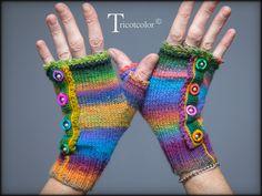 """Mitaines Tricotcolor tricotées main """" Pure laine dégradée, picot, nacre et perle """" : Mitaines, gants par tricotcolor"""