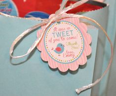 PRINTABLE FAVOR TAGS Tweet Bird or Little Birdie - Birthday Party or Baby Shower - Memorable Moments Studio on Etsy, $7.00