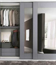 Closet doors are vital, however usually forgotten when it involves space design. Produce a face-lift for your room with these closet door ideas. It is essential to create distinct closet door ideas to beautify your home style. Modern Closet Doors, Mirror Closet Doors, Sliding Wardrobe Doors, Wardrobe With Mirror, Mirrored Sliding Closet Doors, Ikea Closet Doors, Sliding Wall, Mirror Drawers, Closet Drawers