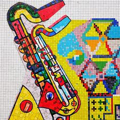 Jazz It Up A Little by Rosh Thanki, Eduardo Paolozzi saxophone tiles at Tottenham Court Road station Eduardo Paolozzi, Mosaic Art, Mosaics, Jazz Club, London Underground, Mosaic Designs, Cool Words, Traveling By Yourself, Kids Rugs