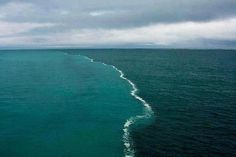 """NOT The Place Where Two Oceans Meet - Photo taken by Ken Bruland, a professor of ocean sciences at the University of California-Santa Cruz, during a research cruise in 2007 showing water from glacial river as it blends with water in Gulf of Alaska.  Waters will merge and such delineation will disappear in time. Dark colour is mud, silt and """"glacial flour"""" and the amount of it in the water affects the colour and amount of time it will take to merge with ocean water."""