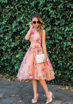 floral dress with chic bag and shoes