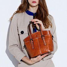 8a34d42d439d Women Vintage Genuine Leather Oil Wax Tote Handbags