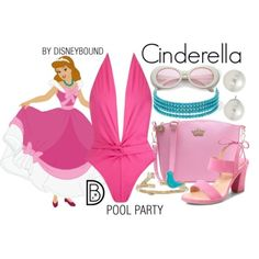 Disney Bound: Cinderella from Disney's Cinderella (Pool Party Outfit) Theme Park Outfits, Pool Party Outfits, Disney Themed Outfits, Cruise Outfits, Disney Bathing Suit, Cute Bathing Suits, Cute Disney, Disney Style, Disney Bound Outfits Casual