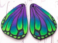 Vibrant Polymer Clay Butterfly Wing Handmade Cane Charms W123 via Etsy