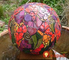 Made predominantly from handmade ceramics on a terra cotta base, this orb is very colorful. Mosaic Garden Art, Mosaic Art, Mosaic Glass, Mosaic Tiles, Glass Art, Pebble Mosaic, Stained Glass, Tiling, Bowling Ball Crafts