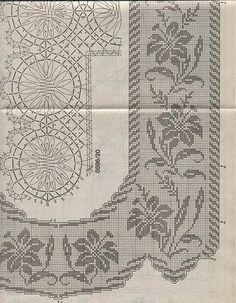 Kira scheme crochet: Scheme crochet no. Crochet Yoke, Filet Crochet Charts, Crochet Diagram, Crochet Art, Crochet Doilies, Crochet Flower, Granny Square Häkelanleitung, Granny Square Crochet Pattern, Crochet Curtains