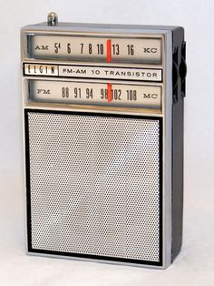 https://flic.kr/p/QpnwXJ | Vintage Elgin Transistor Radio, Model R-1300, AM & FM Bands, 10 Transistors, Made In Japan, Circa 1960s | Elgin-branded transistor radios were typically sold in jewelry stores.