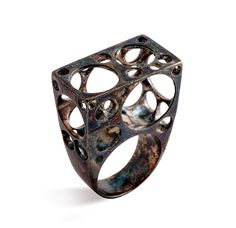 BIG BUBBLES Sculpture Ring in oxidized sterling silver by AroshaTaglia, $295.00