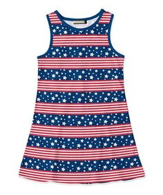 ed5fe7375f6 Look at this  zulilyfind! Red Stripe  amp  Navy Star Tank Dress - Toddler