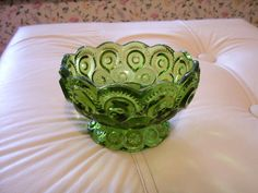 SINGLE LE SMITH MOON & STARS GREEN FOOTED CANDLE STICK HOLDERS VINTAGE (C110)