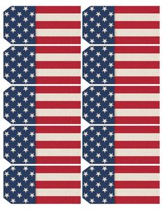 Printable sheet of 10 patriotic, USA flag-themed tags. Each tag 2 x 4.""