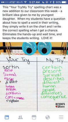 I would love to use this strategy during independent writing time. I always tell my students to spell the best they know how but I often wonder what if they do Teaching Writing, Teaching Strategies, Student Teaching, Primary Teaching, Writing Activities, Teaching Tips, Elementary Teacher, Elementary Education, Education Humor
