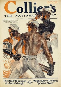 Leyendecker, Sailors, Collier's t cover illustration, November Poster Vintage, Vintage Art, Vintage Sailor, Jc Leyendecker, Course Automobile, American Illustration, Ready Player One, Automotive Art, Automotive Industry
