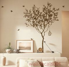 Vinyl Tree decals wall decals wall stickers Kids wall art Kids wall decals room decor  wall art wall decor -tree with bird