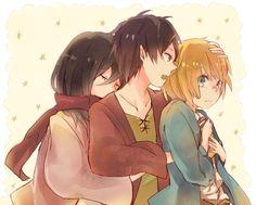 Mikasa Ackerman, Eren Jaeger and Armin Arlert