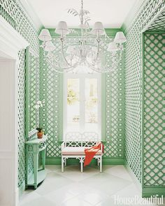 white flooring Colorful Bahamas House - Amanda Lindroth Interior Design - House Beautiful Trelliswork in Benjamin Moore Spring Break. Home Interior Design, Interior And Exterior, Interior Walls, Interior Decorating, Bahamas House, Nassau Bahamas, Old Fashioned House, Halls, Beautiful Homes