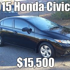 Myriad Motorsports Auto Brokers   We saw this 2015 Honda Civic LX at the dealer auction today and liked it so much we bought it...just because. 20,000 miles, Black on black with tinted windows. As new...!!! Books and two keys. Save buckets over new....!!!