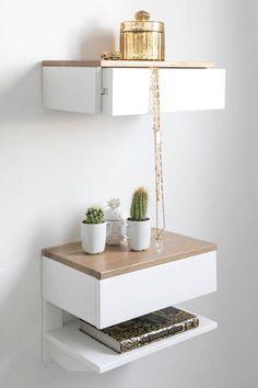 24 Small Nightstand Ideas in 2020 - Home Design Small Nightstand, Bedside Drawers, Floating Nightstand, Nightstand Ideas, Bedside Tables, Floating Drawer, Living Room Decor, Bedroom Decor, Small Bedroom Designs