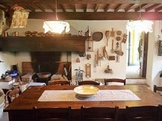 fireplace +  long table in kitchen = love