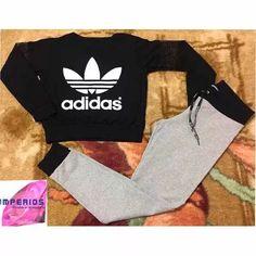 0a8a942ab21 Conjunto Feminino adidas Cropped Blusa Manga Longa E Calça - R  45
