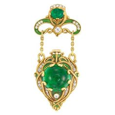 Lot 279 - Arts and Crafts Gold, Cabochon Emerald, Diamond and Green Enamel Lapel-Watch, Marcus & Co.