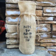 burlap wine bag, red red wine, funny wine quote, burlap gift bag, free shipping, hostess gift, wine gift bag, wine tote, wine collector